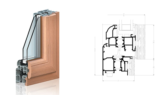 taglio termico alluminio legno